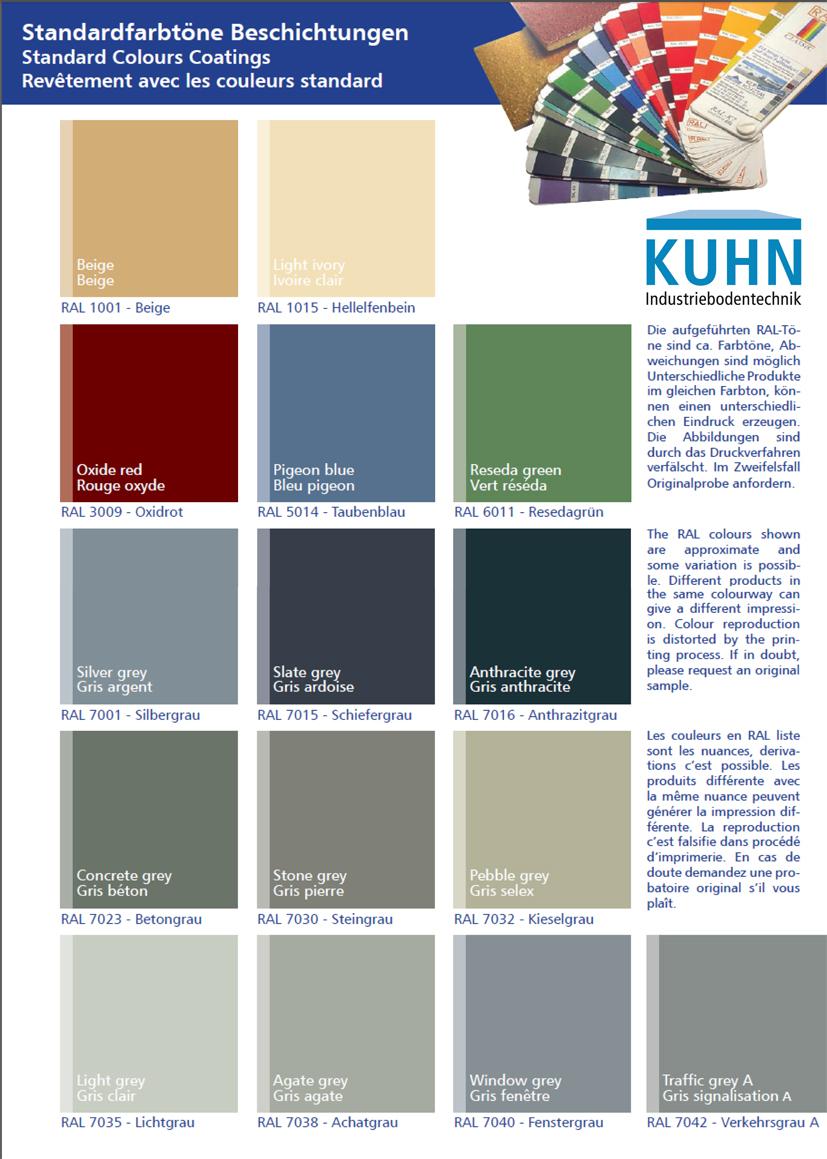 Polyurethanharz-Böden: Kuhn Standartfarben